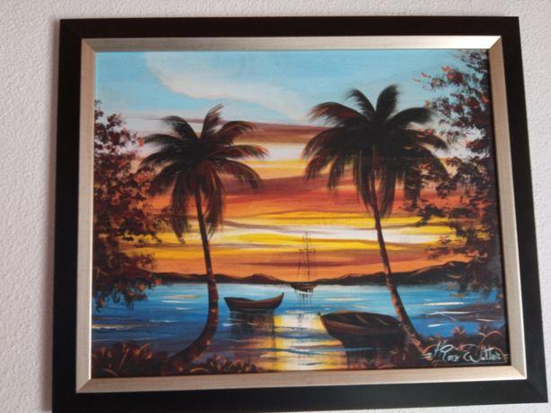 Quadro praia pôr do sol palmeiras barcos