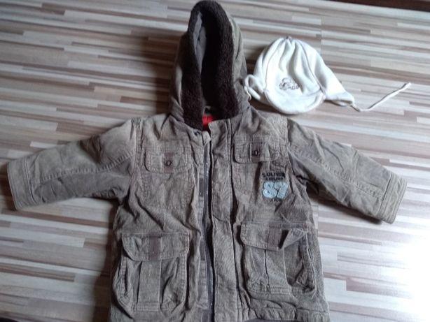 zimowa kurtka chłopięca plus czapka 86 s.oliver