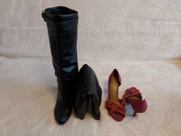 Dwie pary butów rozmiar 37 wysokie kozaki na koturnie i szpilki wisnio
