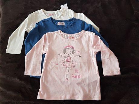 Trzy nowe bluzeczki dla dziewczynki r 80 top koszulka