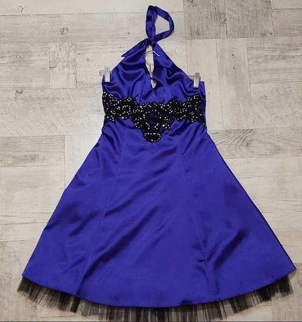 Sukienka satyna Quiz z szyfonem S/M