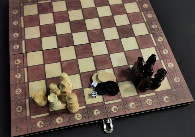 Оригинальные деревянные шахматы 3 в 1 Xinliye. Размеры от 24 до 34 см