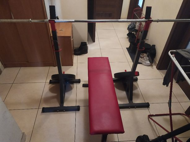 Siłownia domowa- gryf prosty i SSB + ławka + stojaki +95 kg obciążenia