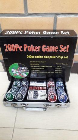 Подарочный набор для игры в покер в кейсе на 200 фишек с номиналом