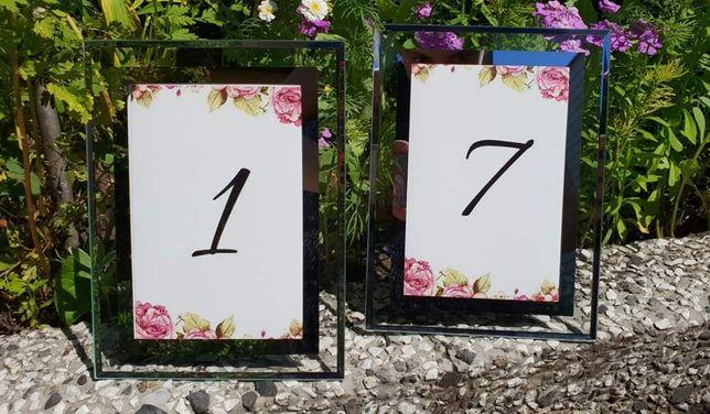 Numery stołów, stolików,wesele, ślub, dekoracja, ramki, ramka glamur