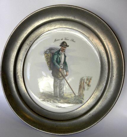 тарелка фарфор олово винтаж Франция клеймо