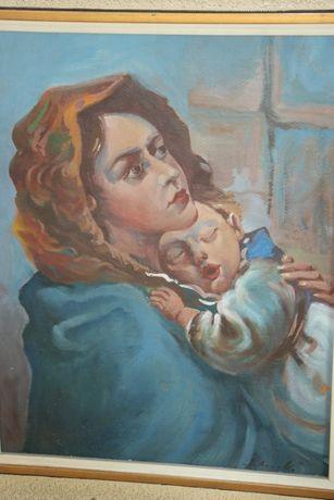 Matka z dzieckiem, obraz olejny ręcznie malowany