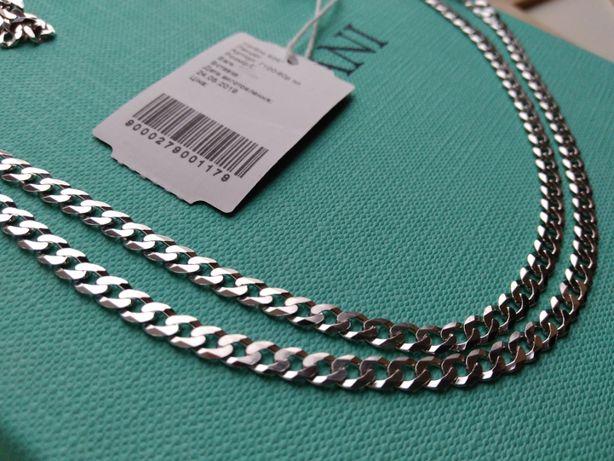 Серебряная цепочка 50 55 60 цепь Картье Гурмет панцирное серебро 925