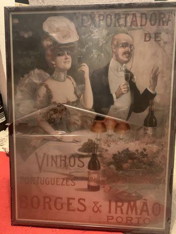 Quadro antigo vinhos borges