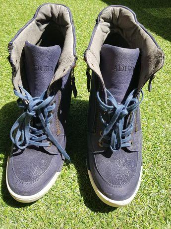 Badura buty na koturnie skóra naturalna