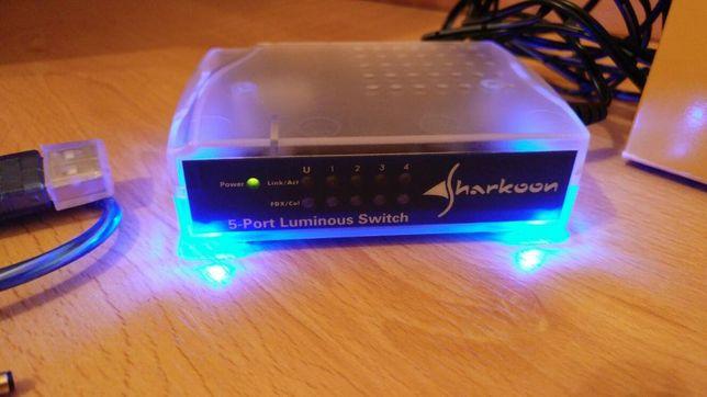 Switch luminoso 5 portas Sharkoon LSW-5