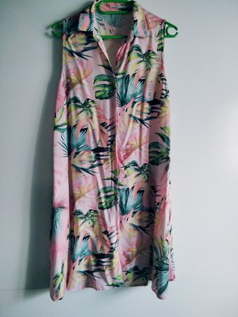 Koszula sukienka tunika w kwiaty różowa