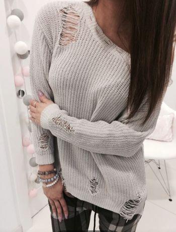 Szary sweter dziury PInko  M