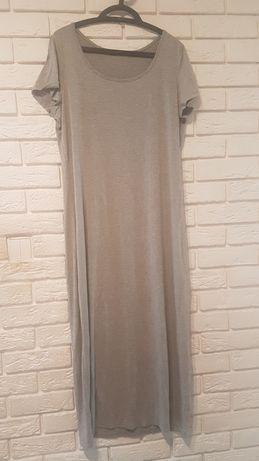 Bawełniana, szara midi sukienka. Rozmiar 46