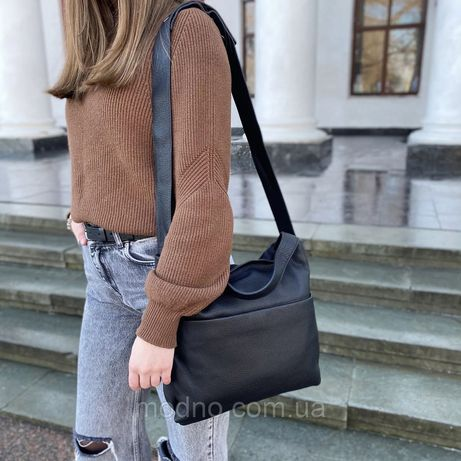 Женская кожаная сумка на плечо большая Polina & Eiterou жіноча шкіряна