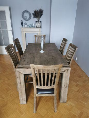 Stół i 6 krzeseł drewno szczotkowane