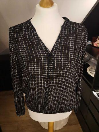 Czarna bluzka w biała kratke Reserved rozmiar 36