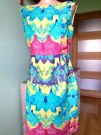 Kolorowa sukienka, rozmiar 42