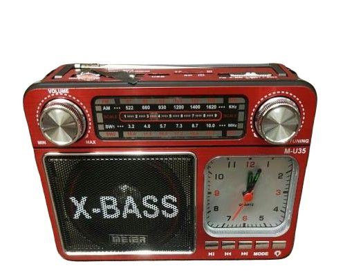 Radio z zegarkiem i lampką LED Meier Mp3 USB FM AM czerwone