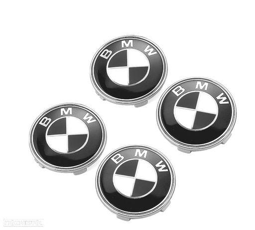 KIT 4 EMBLEMAS LOGOTIPO BMW PRETO PARA JANTES