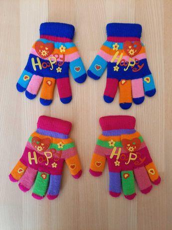 2 x ciepłe kolorowe rękawiczki 6-8-10 lat !!!