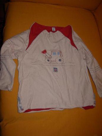 Camisola Pré Natal Creme + Camisa Metro Company Laranja quadrados4 ano
