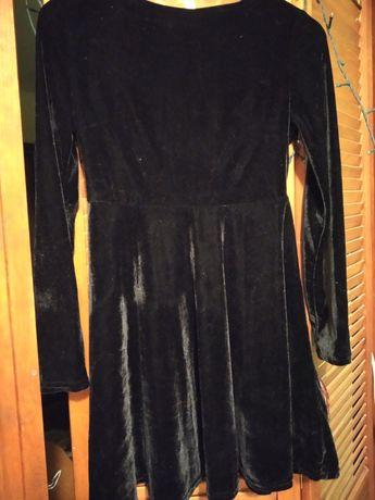 Черное велюровое бархатное платье мини