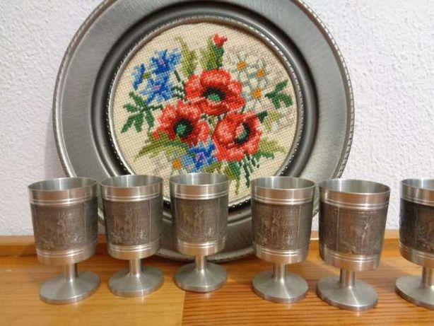 Conjunto de 6 cálices copos em metal trabalhados