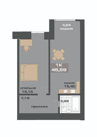 1-кімнатна квартира в районі Горького