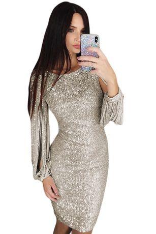 Sukienka wieczorowa cekiny druhna WESELE 38 M silver