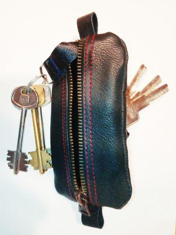 Двухсторонняя ключница, два отдела 6Х14 см (ключница) кожа