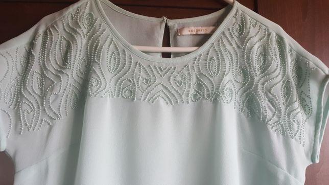 Piękna miętowa jedwabna bluzeczka L