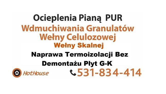 Ocieplenie Poddasza - Piana PUR - Celuloza - Wełna - Naprawa po Kunie