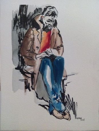 Pintura aguarela e tinta-da-china 14,2 x 18,9 cm