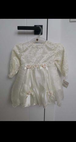 Nowa sukienka dla dziewczynki 80 na chrzest wesele ślub