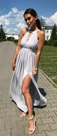 Sukienka Shiny szara Illuminate długa rozm. M