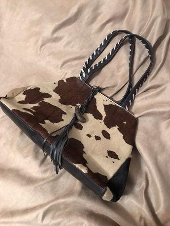 Кожаная сумка с животным принтом hobbs