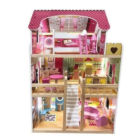 Duży drewniany domek dla lalek z LED Barbie NOWE ZABAWKI