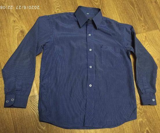 Рубашка для школьника , синяя 128-134