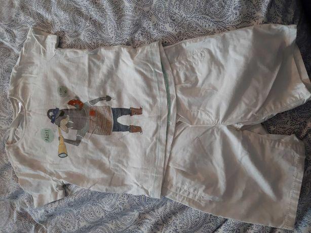 Koplet 86/92 koszulka spodenki białe lato