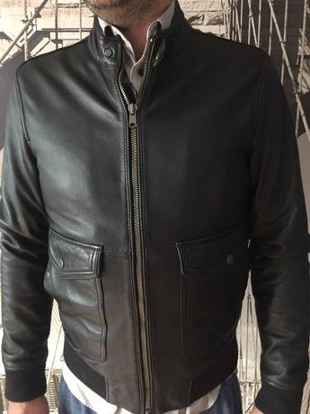 Кожаная мужская куртка фирмы манго
