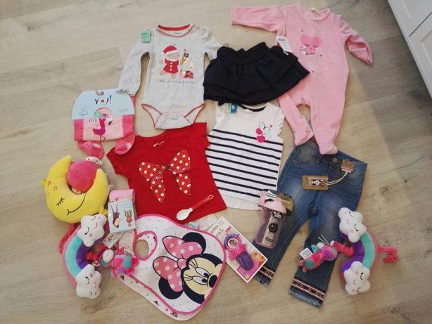 NOWE ubranka i akcesoria niemowlęce dla dziewczynki 68 -92 paka zestaw