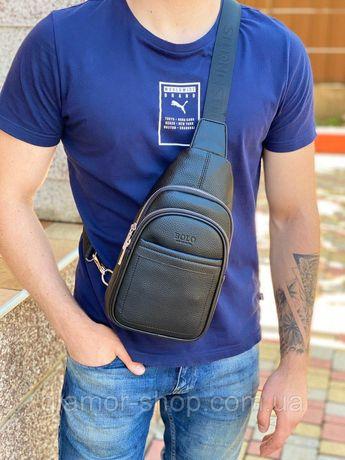 Мужская сумка слинг нагрудная через плечо чёрная чоловіча слінг чорна