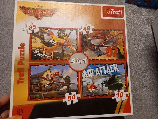 Puzzle Samoloty Planes 2 - 4 szt w jednym pudełku