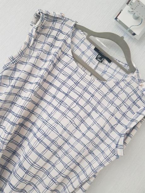 Koszulka bluzka lato s 36 kratka biała elegancka