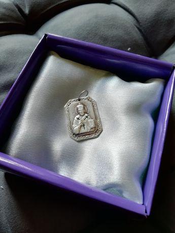 Серебрянная подвеска ладанка, кулон, медальон Николай Чудотворец