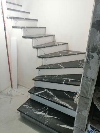 Лестницы из мрамора, гранита. Камины. Облицовка природным камнем