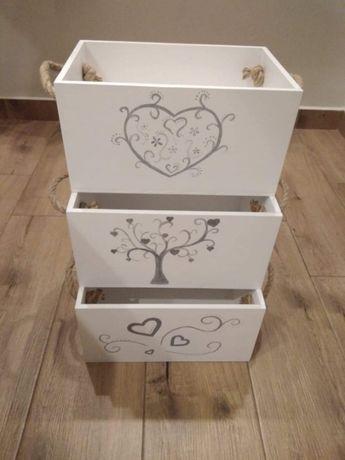 Skrzynki, pudełka drewniane malowane ręcznie malowane zdobienia