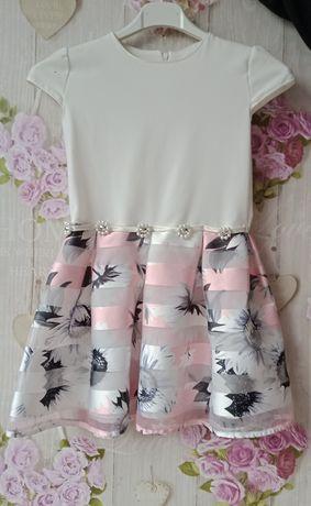 Sukienka dziewczynka róż.134