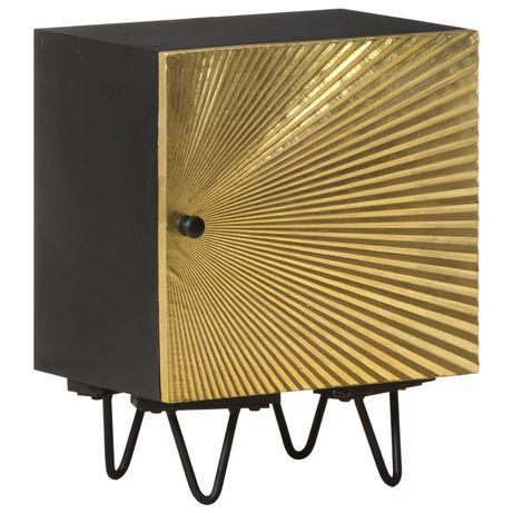 vidaXL Mesa de cabeceira c/ frente bronze 40x30x50 cm mangueira maciça 322680
